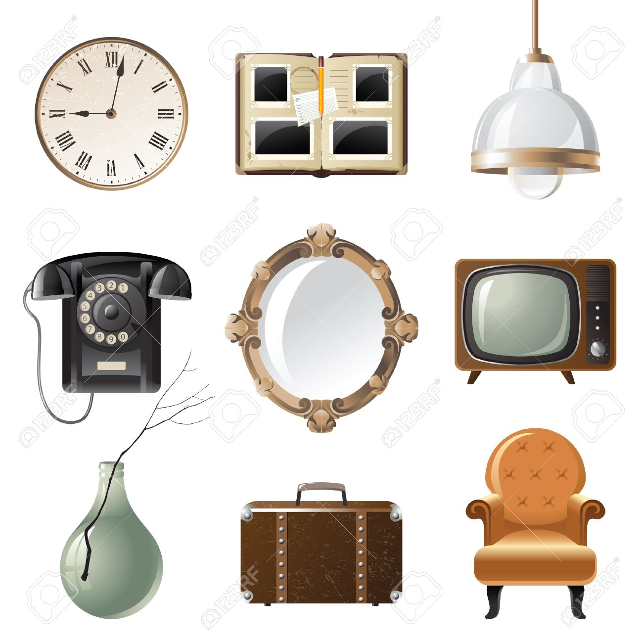 retro - styled home related objects Stock Vector - 13876391