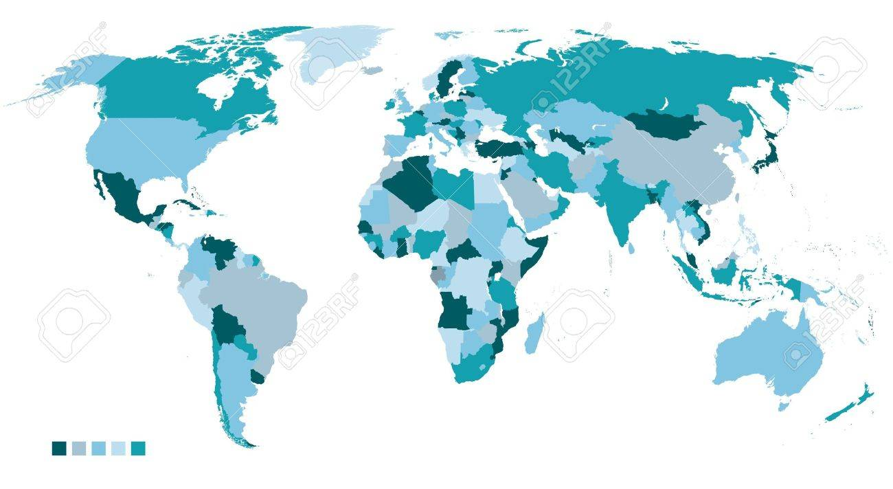 political world map in 5 colors Stock Vector - 14270573