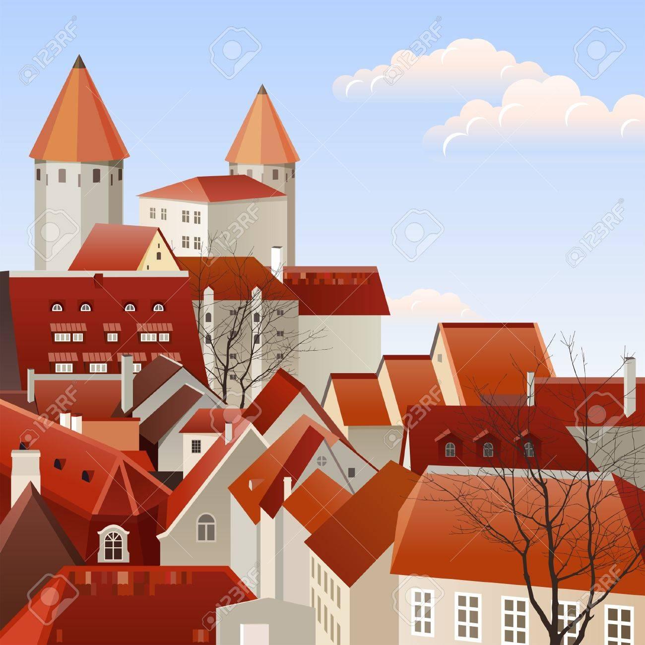 Small european town landscape Stock Vector - 14332254