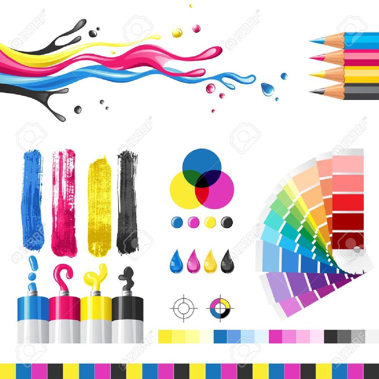 Cmyk color mode design elements stock vector 14332256