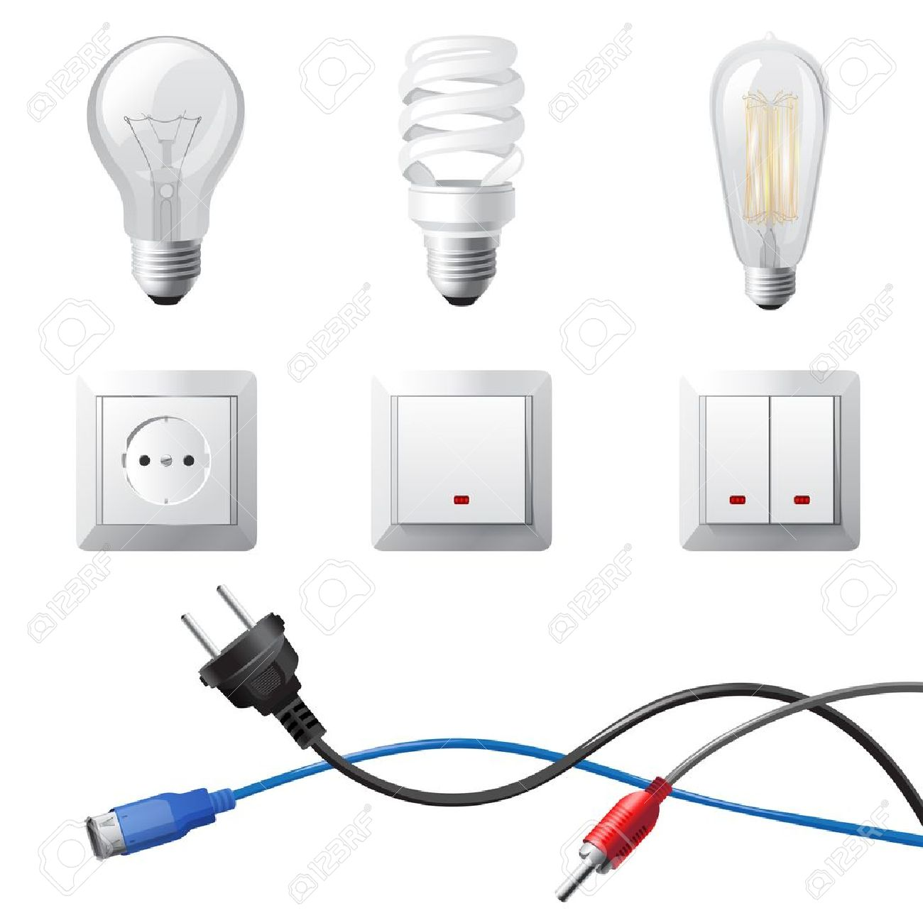 Highly Detailed Home Electricity Devices Set Royalty Free Cliparts ...
