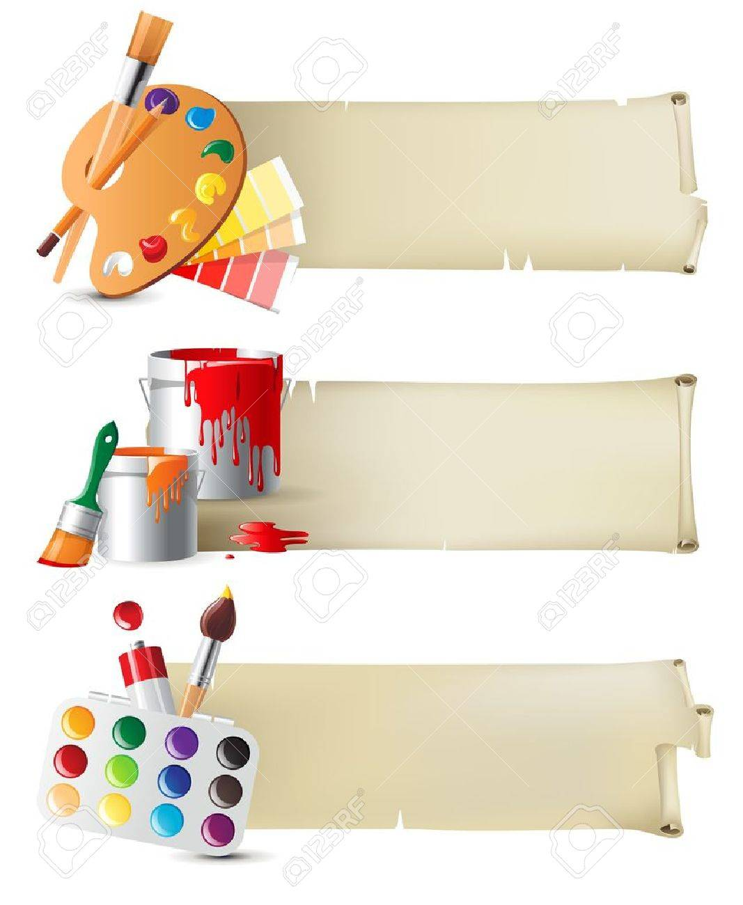 Retro-styled banners with drawing tools Stock Vector - 15827305