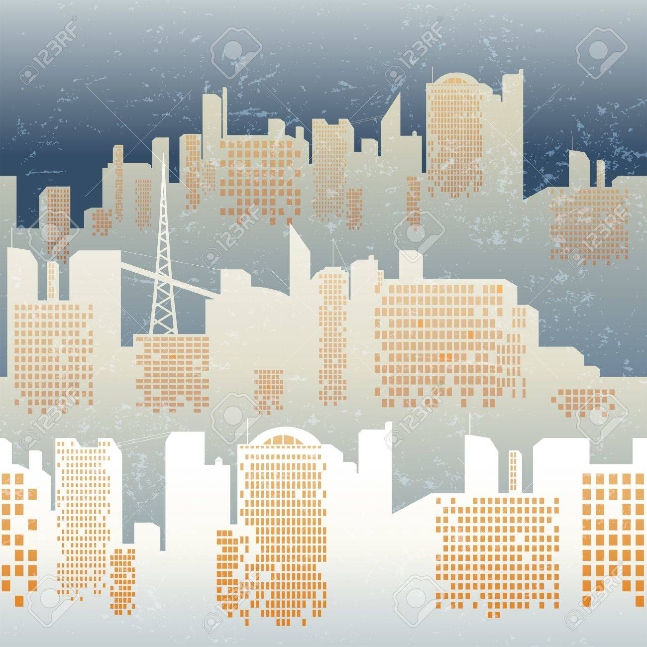 seamless background with city skyline Stock Vector - 15827311