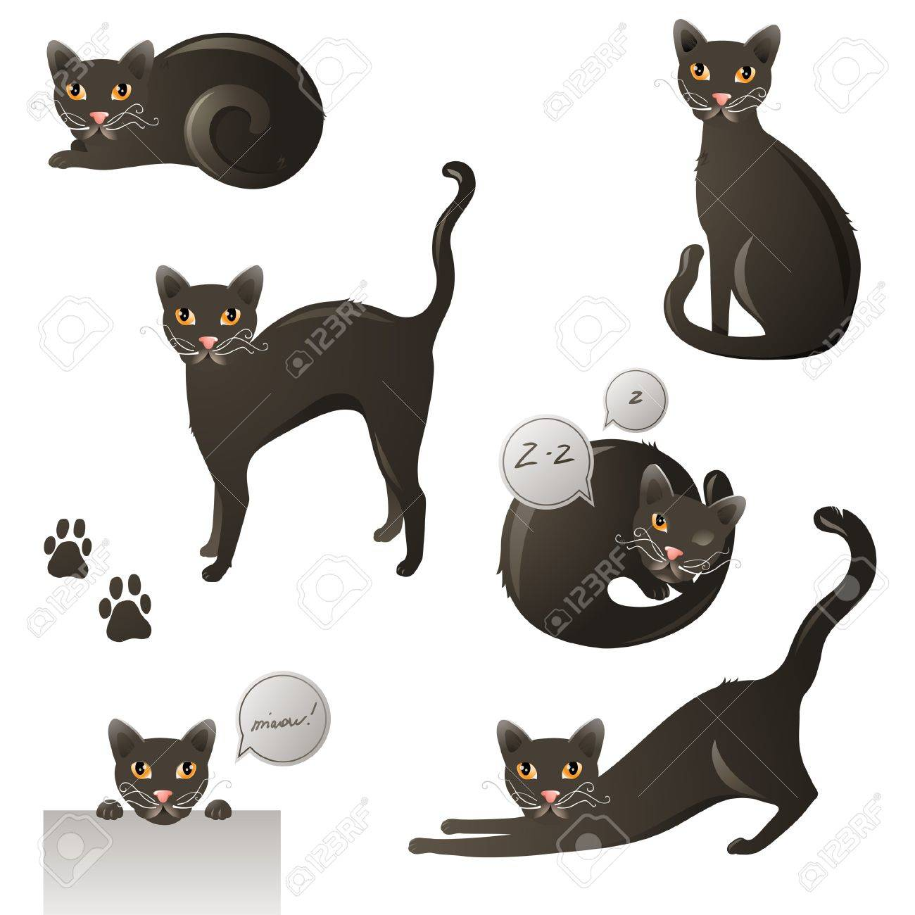 Yeloow - eyed black cat in 6 poses Stock Vector - 16029145