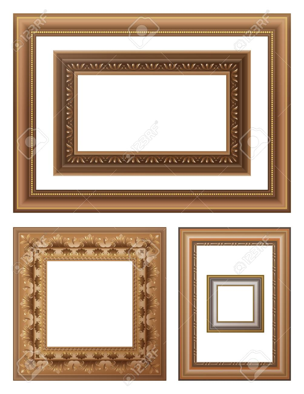 Wooden picture frames set Stock Vector - 16029157
