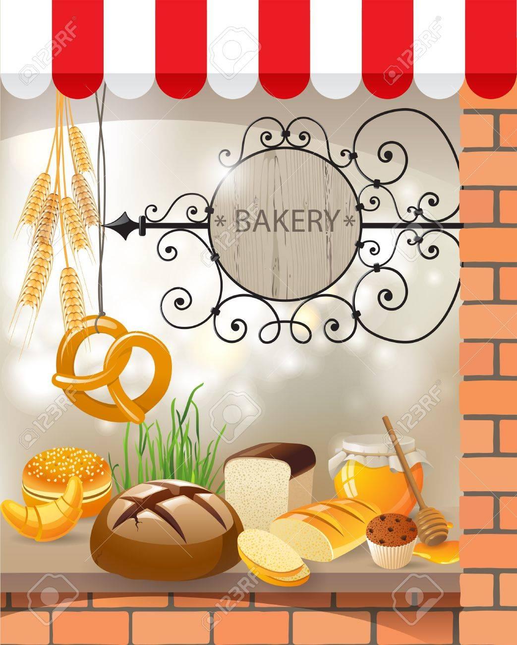 パン屋の店のショーケース のイラスト素材 ベクタ Image