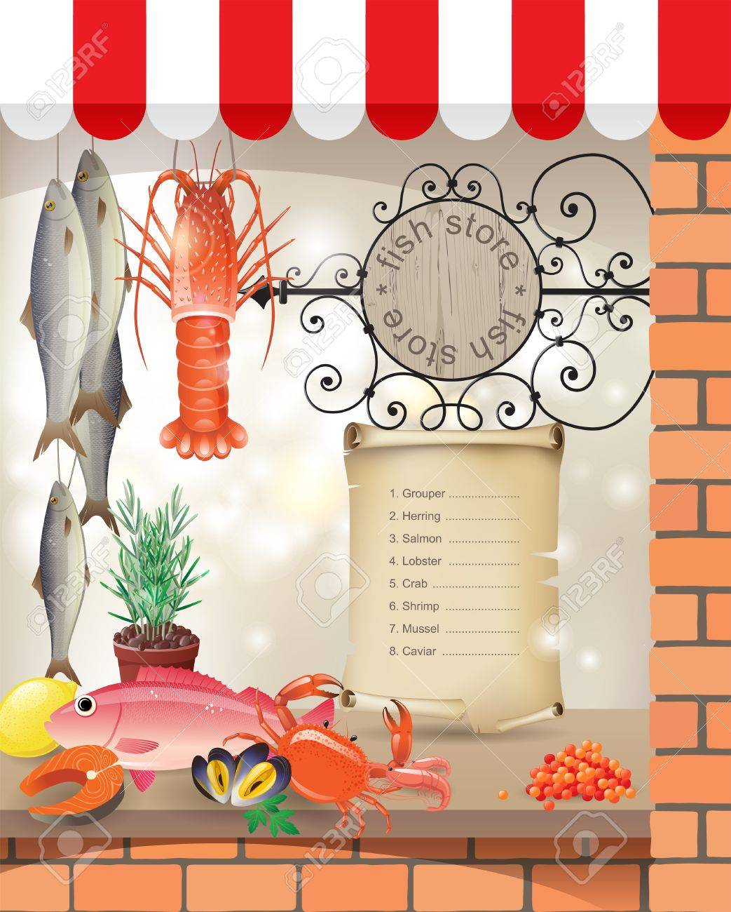 Highly detailed fish store showcase Stock Vector - 16544955