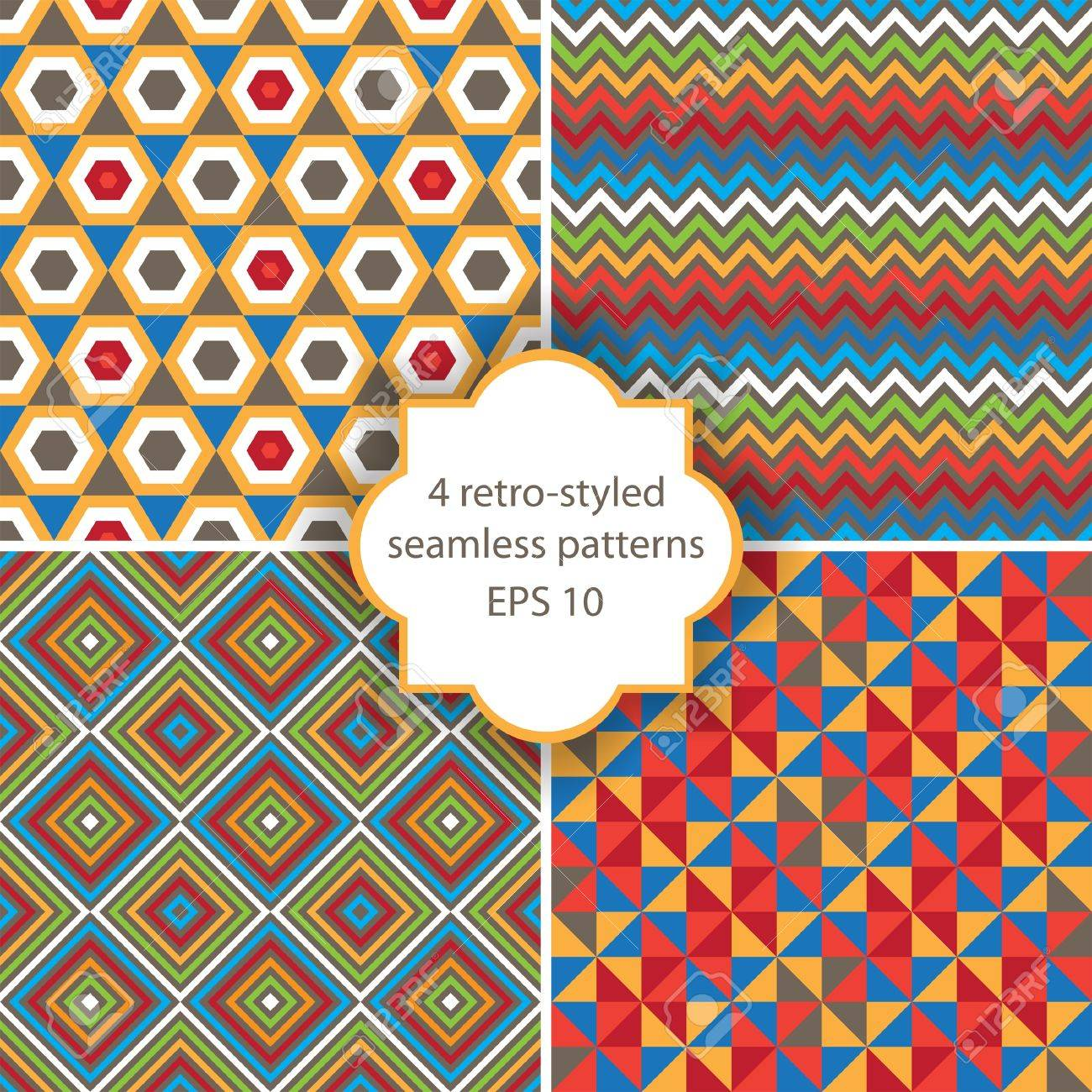 4 bright geometry seamless patterns Stock Vector - 16544952