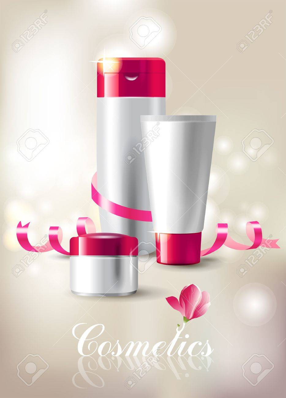 Beautiful background with cosmetics package Stock Vector - 16667095
