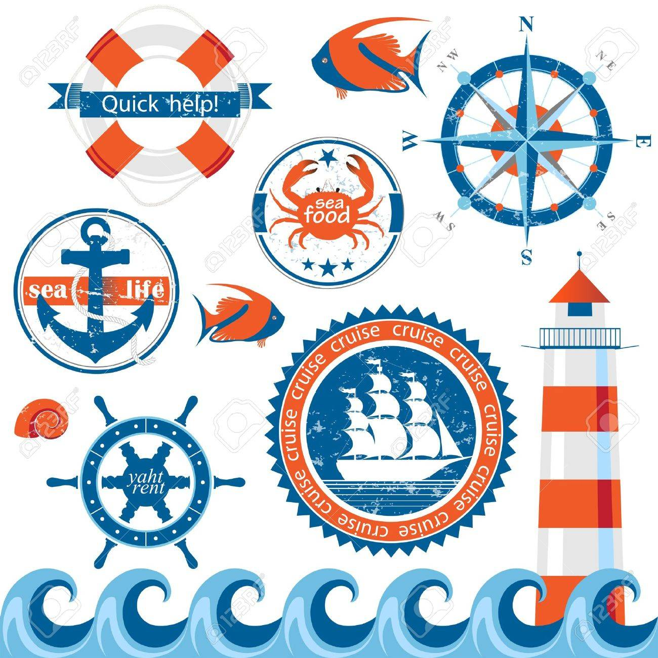 Set of retro-styled sea emblems Stock Vector - 17699697