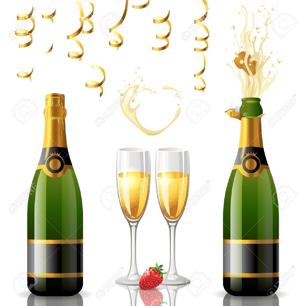 Open and closed bottle of champagne, golden streamers and 2 full glasses Stock Vector - 18382303