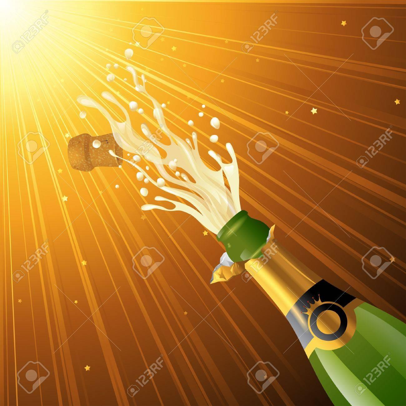 Splashing champagne over golden glamorous background Stock Vector - 18382290