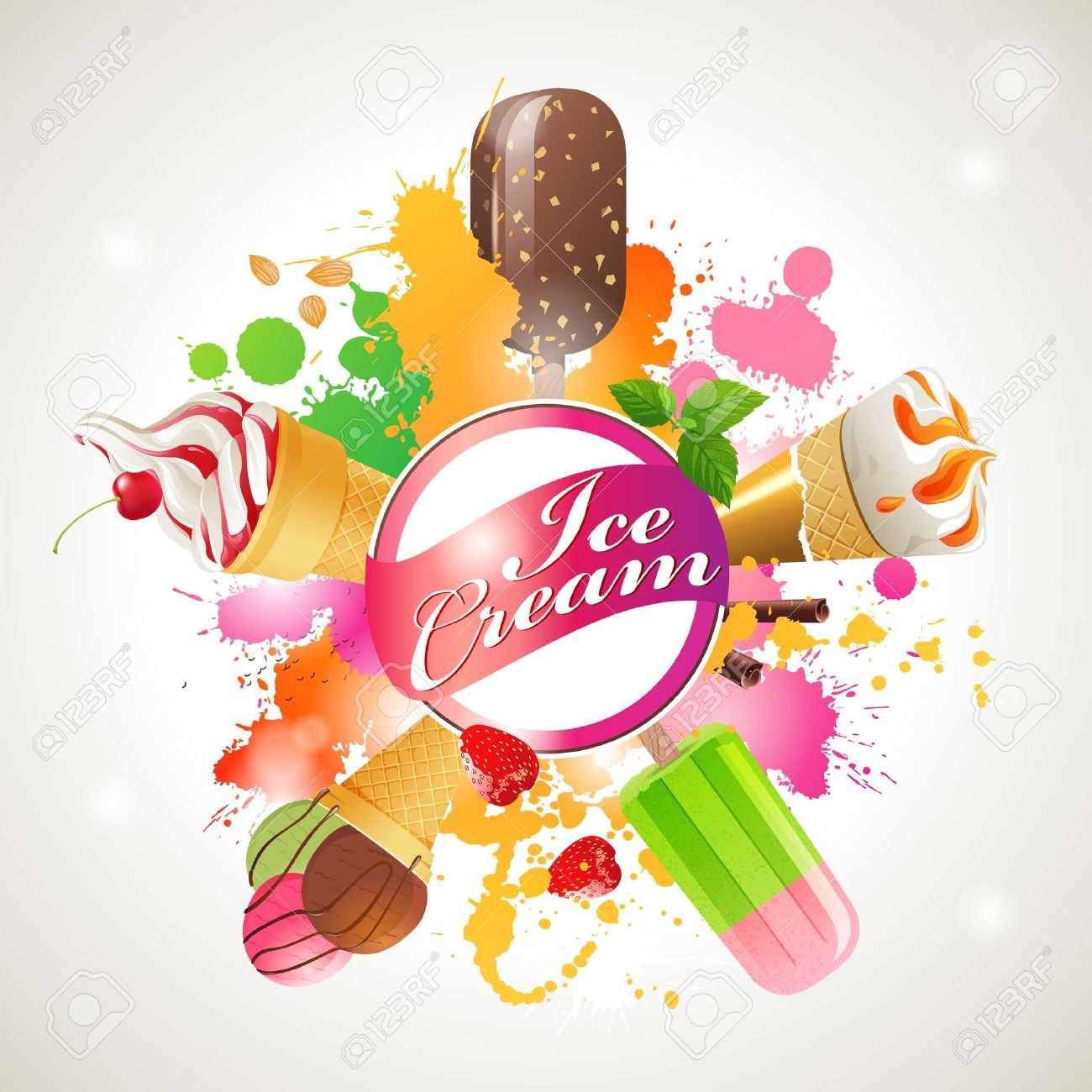 Bright background with different kinds of ice cream Stock Vector - 18783884