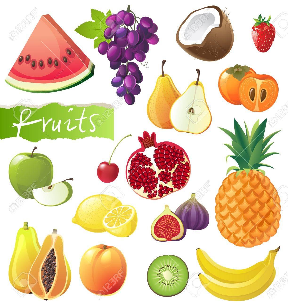 fresh juicy fruits set royalty free cliparts vectors and stock