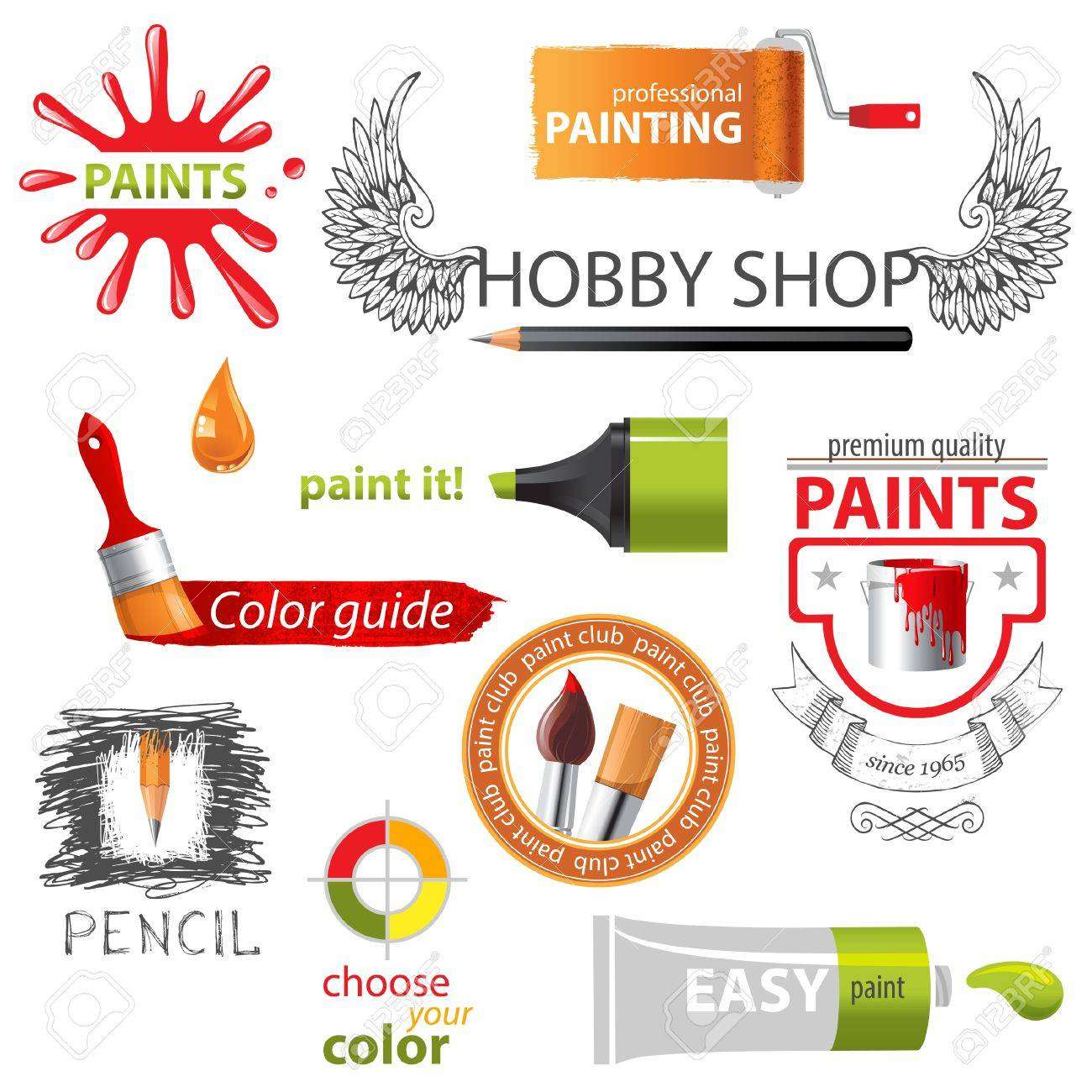 Colorful paint icons and emblems Stock Vector - 20183923