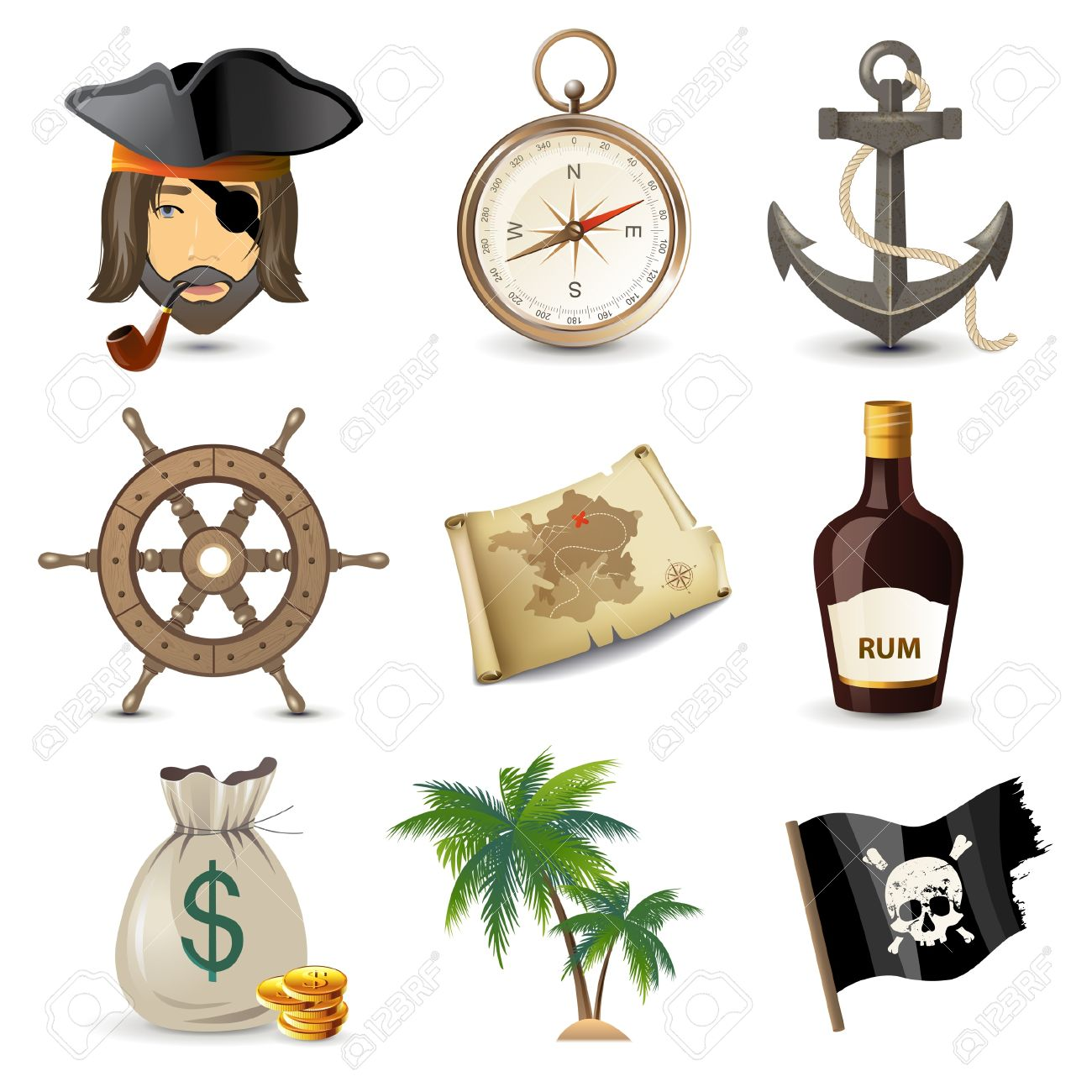 9 highly detailed pirate icons Stock Vector - 20422920
