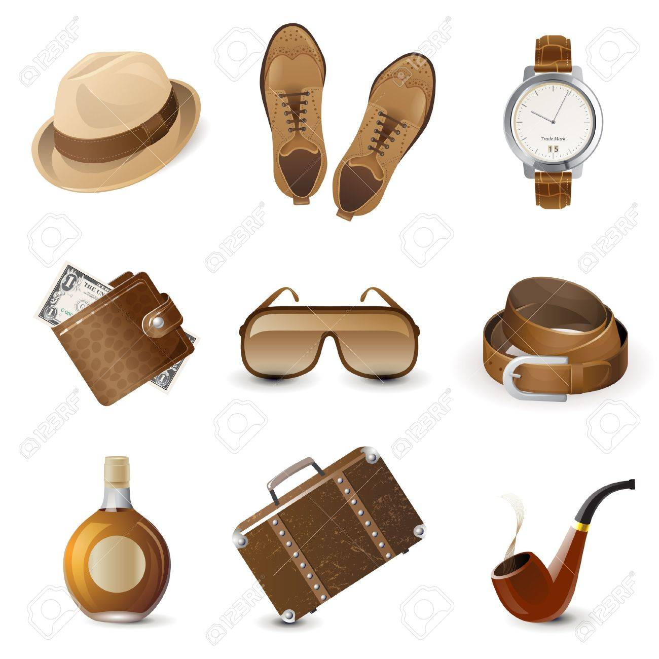 9 highly detailed men accessories icons Stock Vector - 21044549
