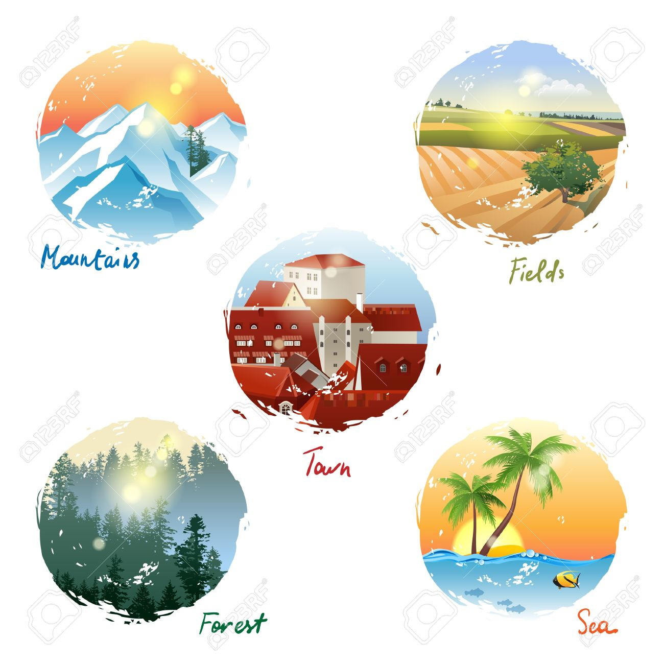 5 different landscape types - mountains, fields, town, forest and sea Stock  Vector - 5 Different Landscape Types - Mountains, Fields, Town, Forest