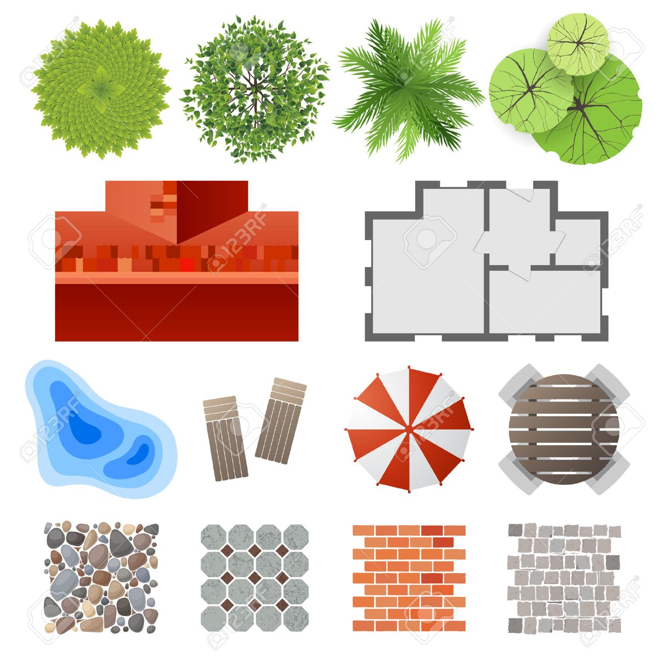 Plant top view vector in group download free vector art stock - Top View Highly Detailed Landscape Design Elements Easy To Make Your Own Plan