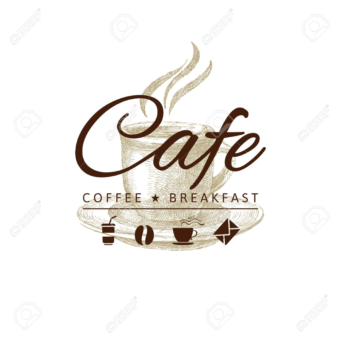 cafe logo with hand drawn coffee cup royalty free cliparts vectors