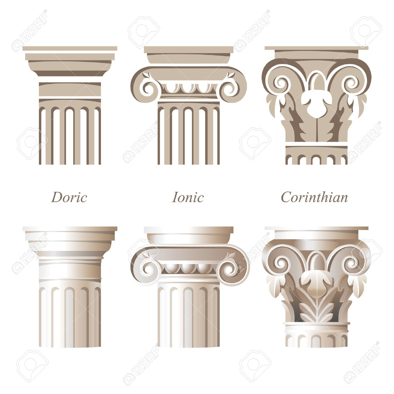 Stylized nd ealistic olumns In Different Styles - Ionic, Doric ... - ^