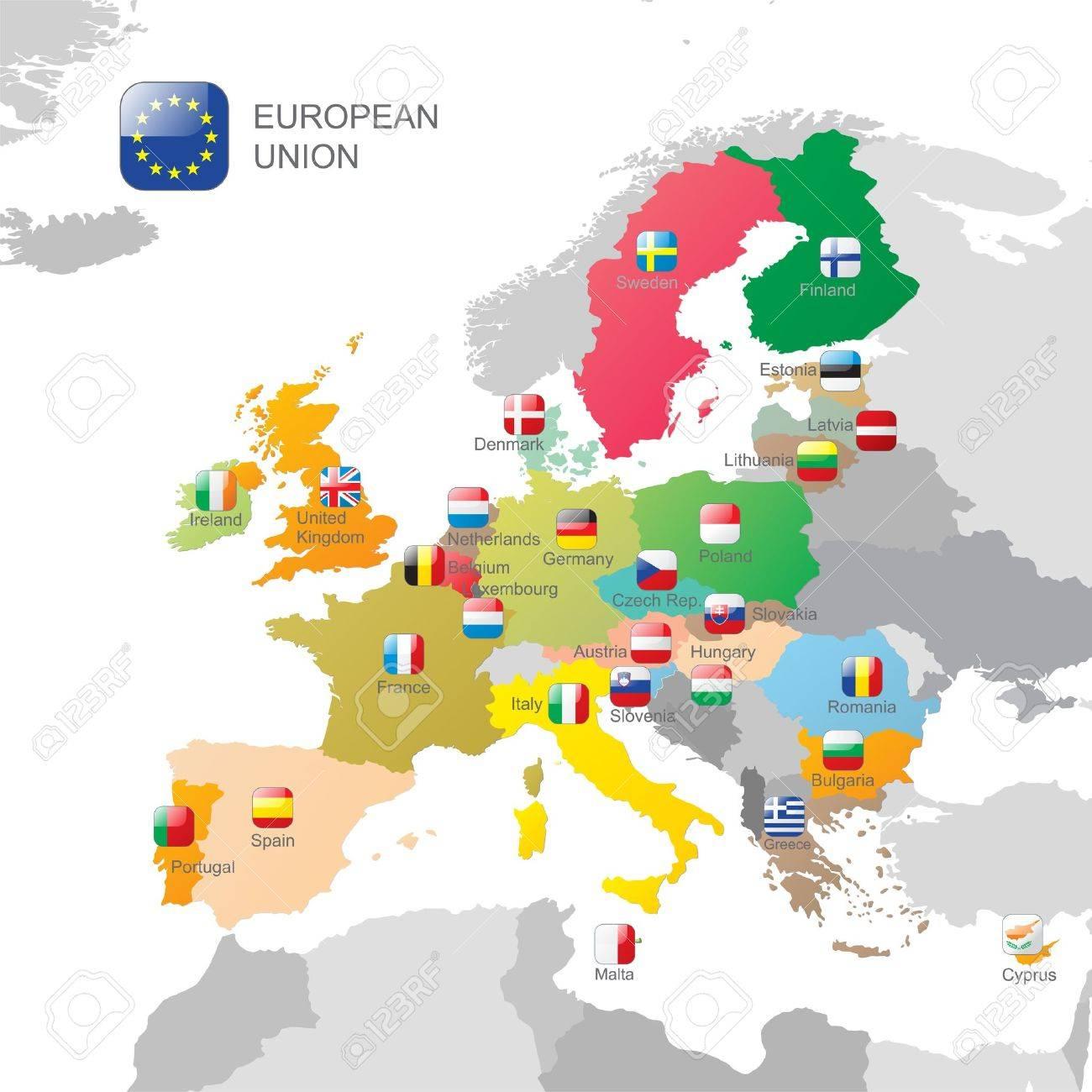 欧州連合の地図とのフラグ ロイ...
