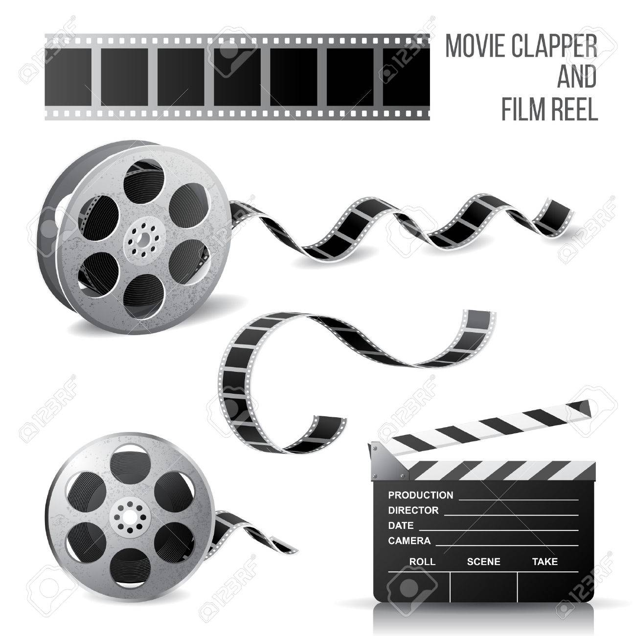 Movie Clapper And Film Reel Over White Background Royalty Free
