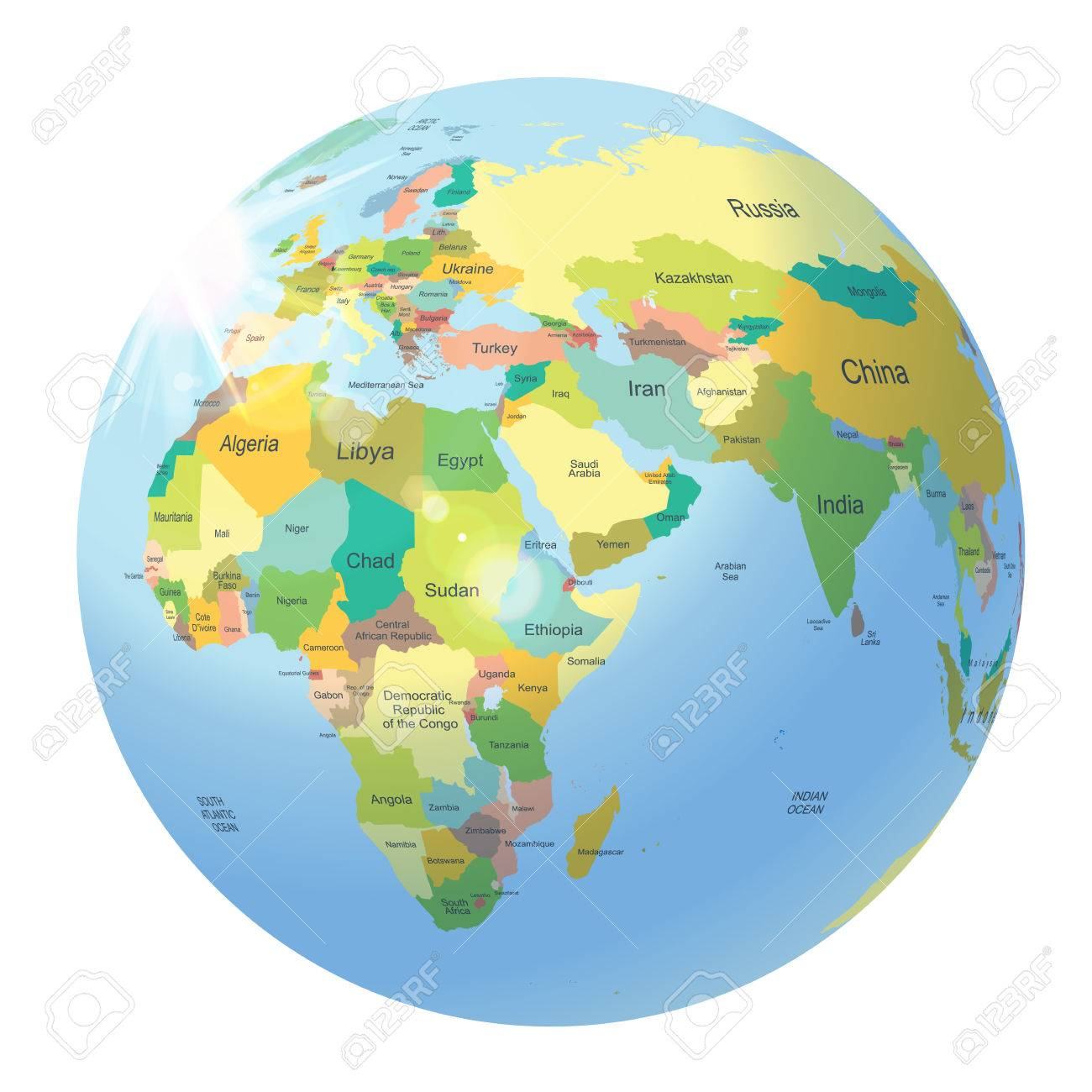 Globe with political world map isolated on white royalty free globe with political world map isolated on white stock vector 30109473 gumiabroncs Choice Image