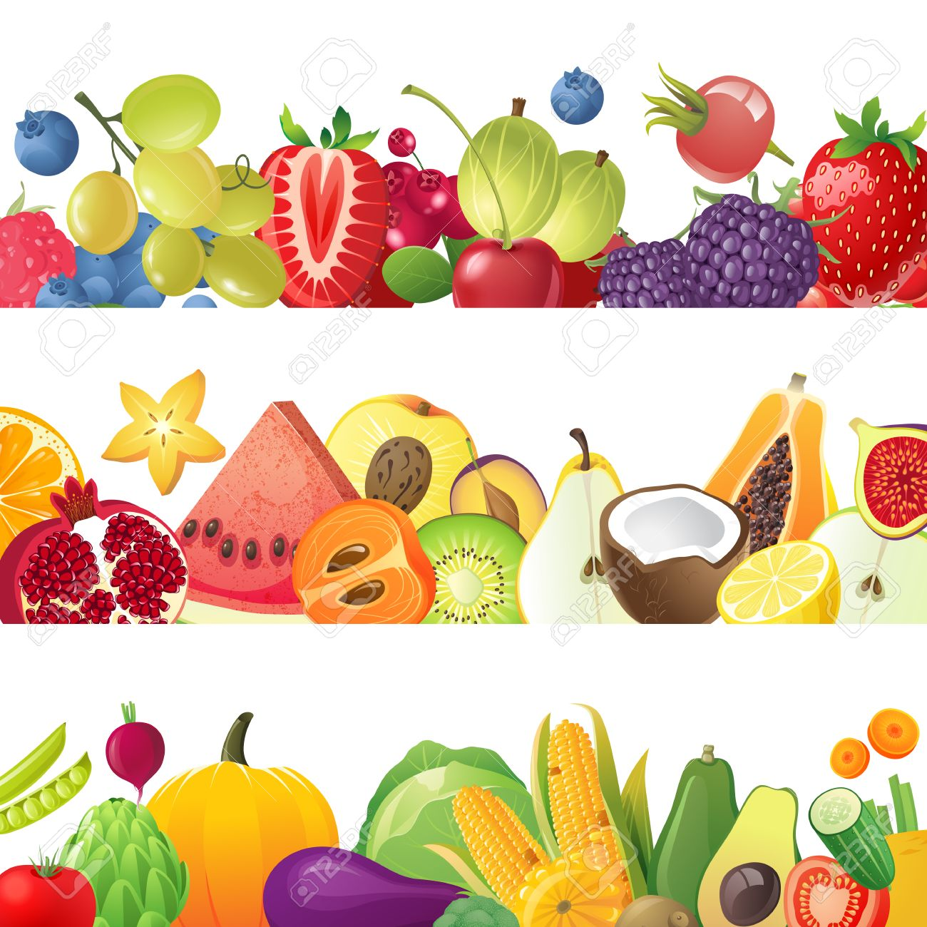 3 Fruits Vegetables And Berries Horizontal Borders Royalty Free