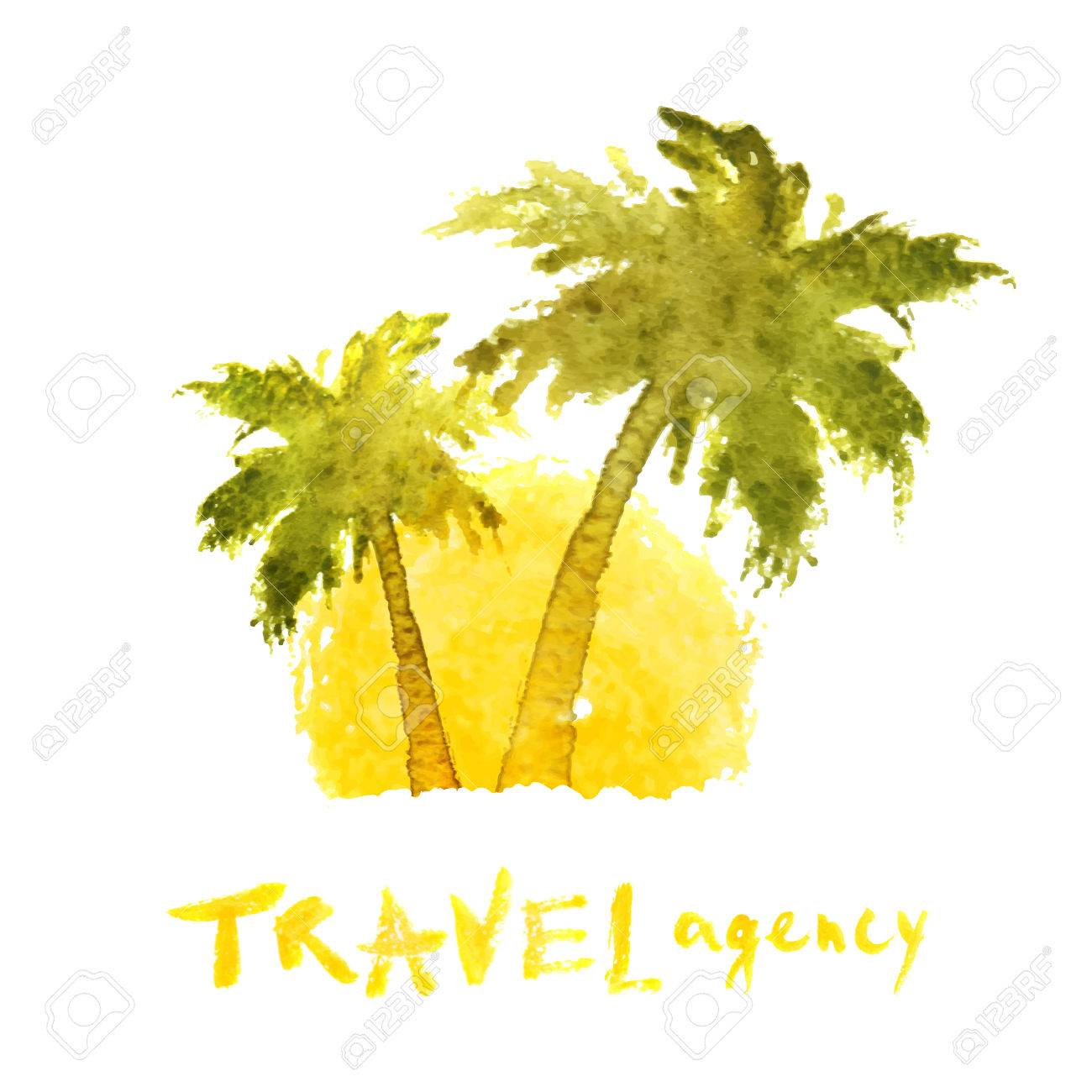 watercolor travel agency palm trees template royalty free cliparts