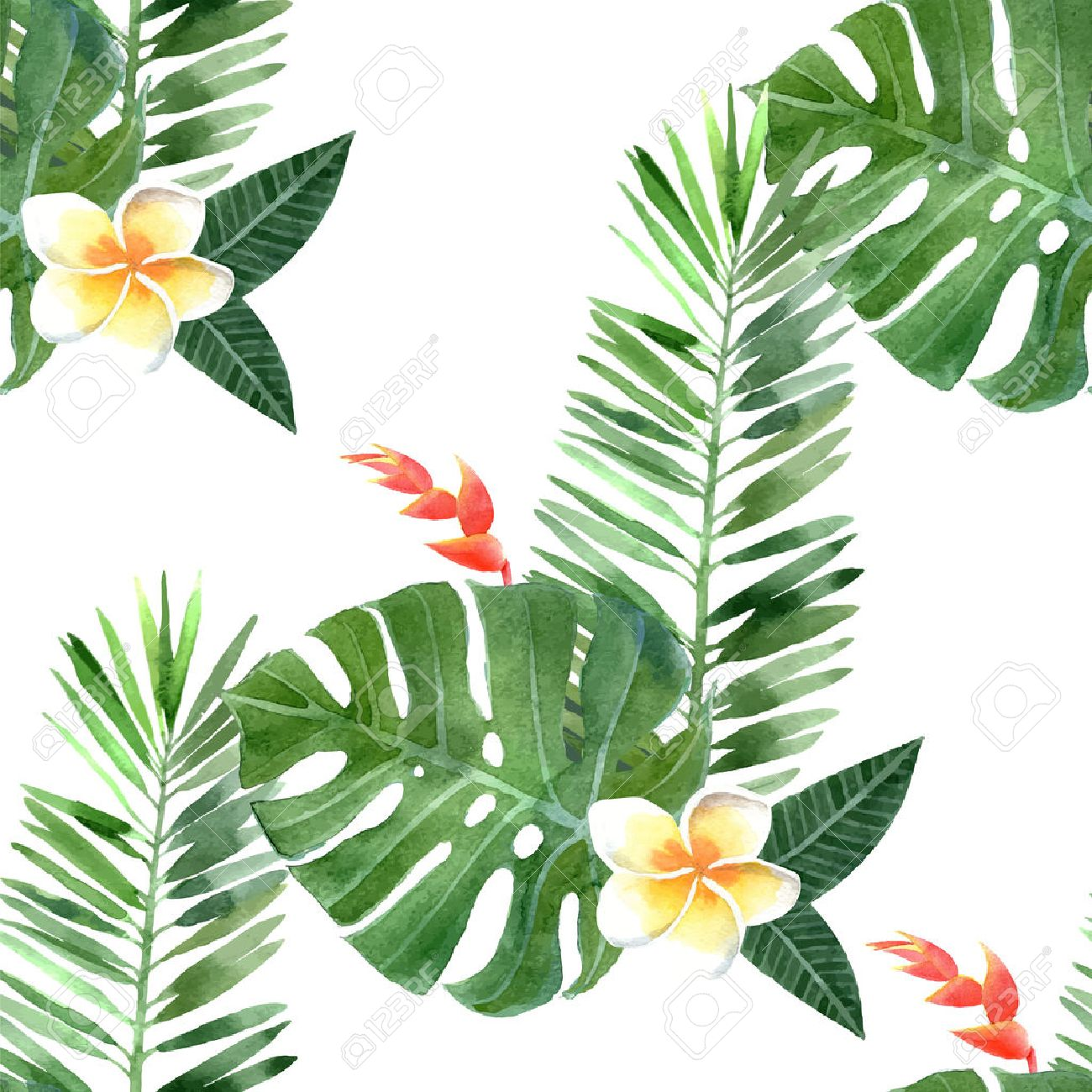 hand drawn watercolor tropical plants seamless - 40308774