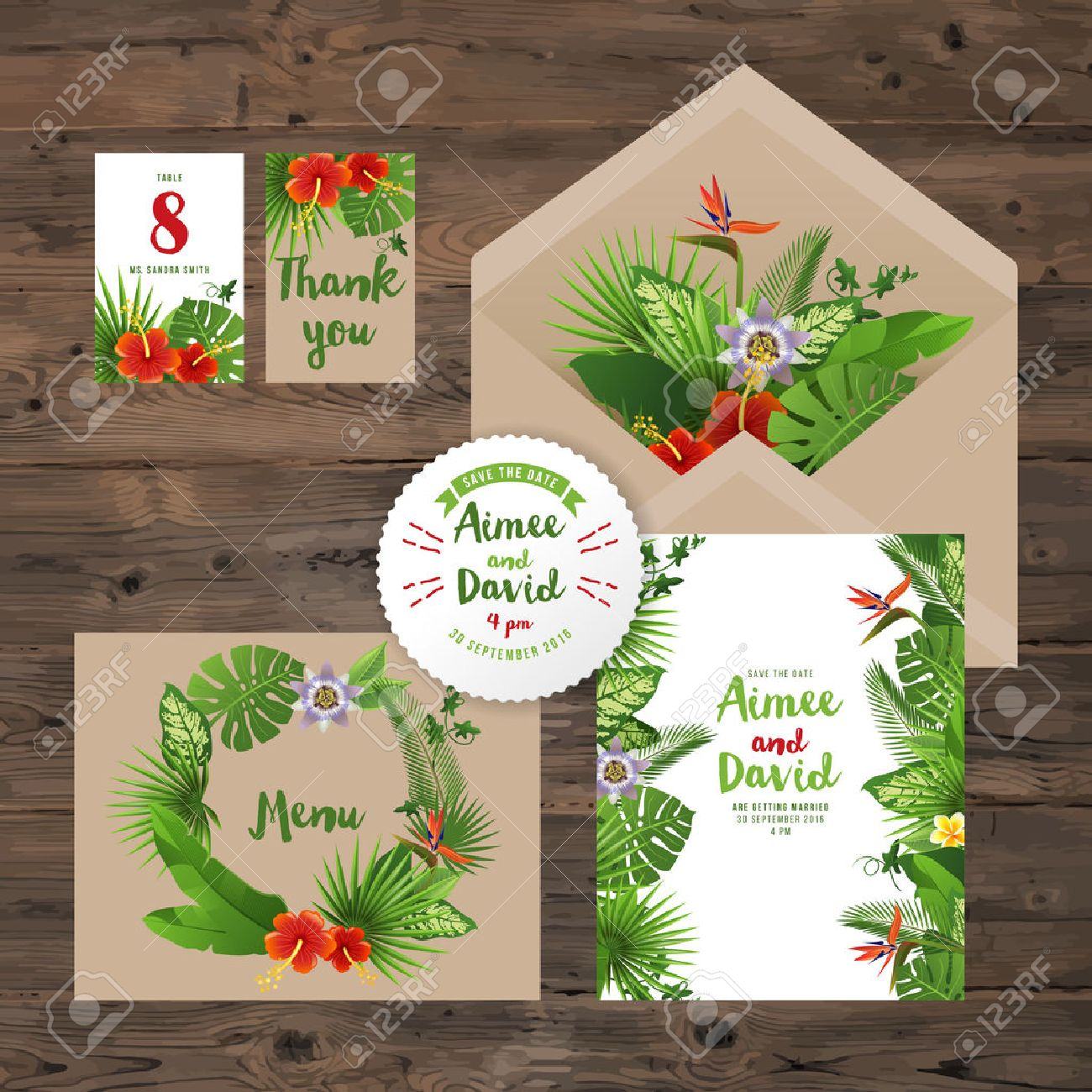 wedding invitation cards with tropical plants and flowers Stock Vector - 40339322