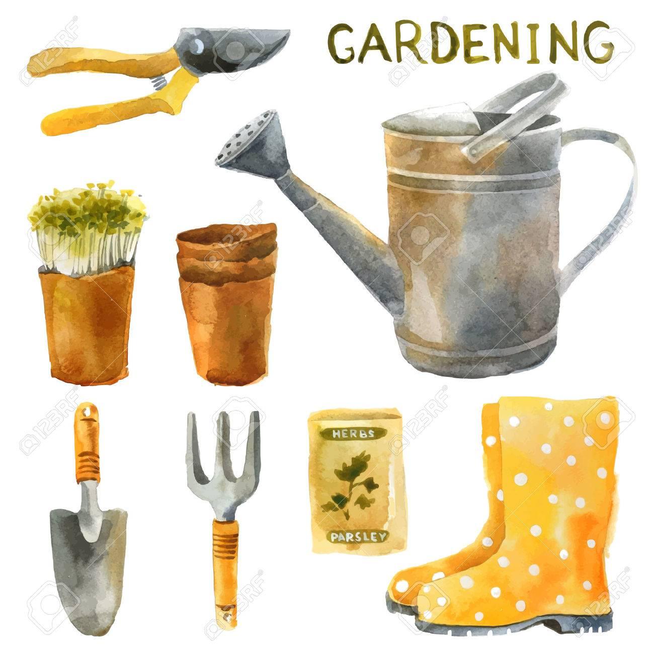 . Hand drawn watercolor gardening set