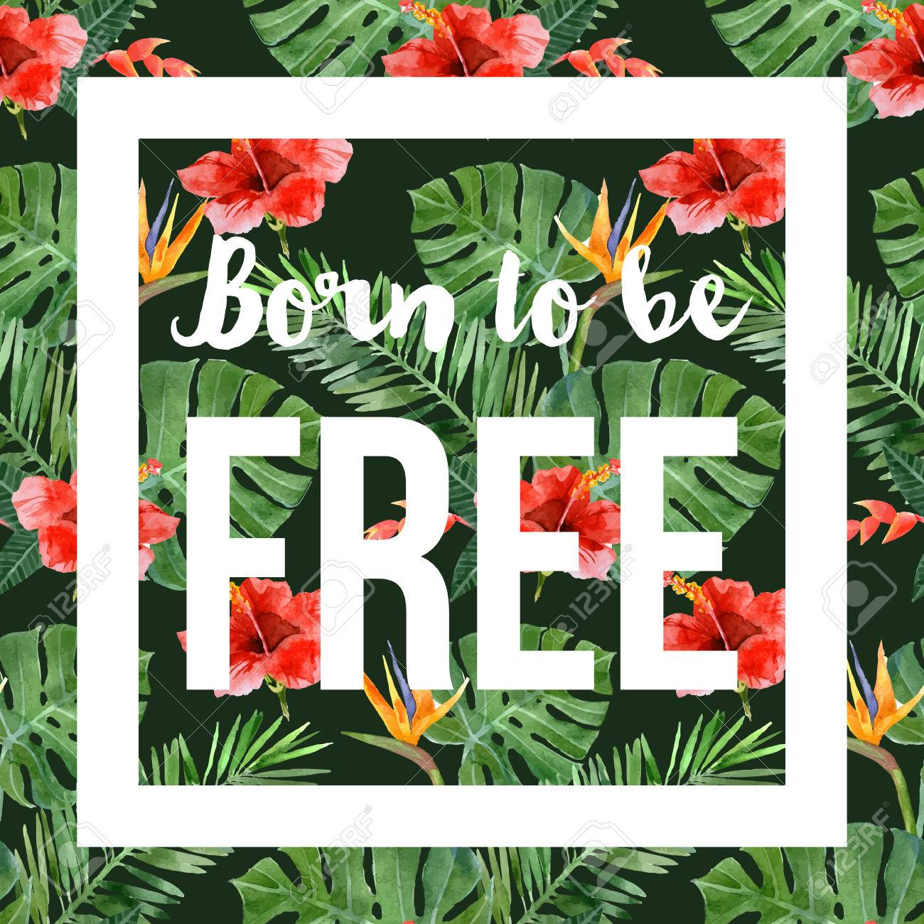 hand drawn watercolor tropical background with slogan - 40935908