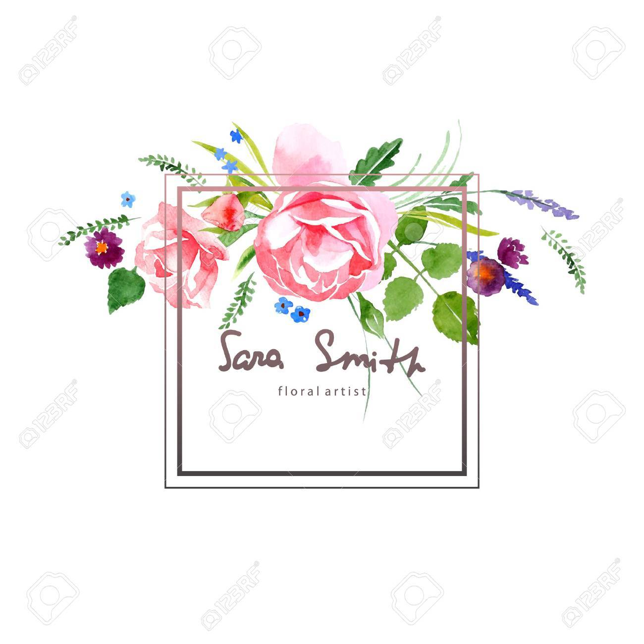Watercolor floral card for your designs - 40936121
