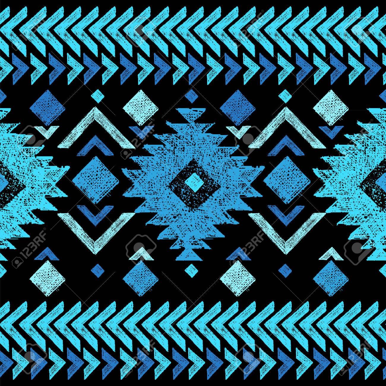 Bright hand drawn tribal seamless pattern - 40936567