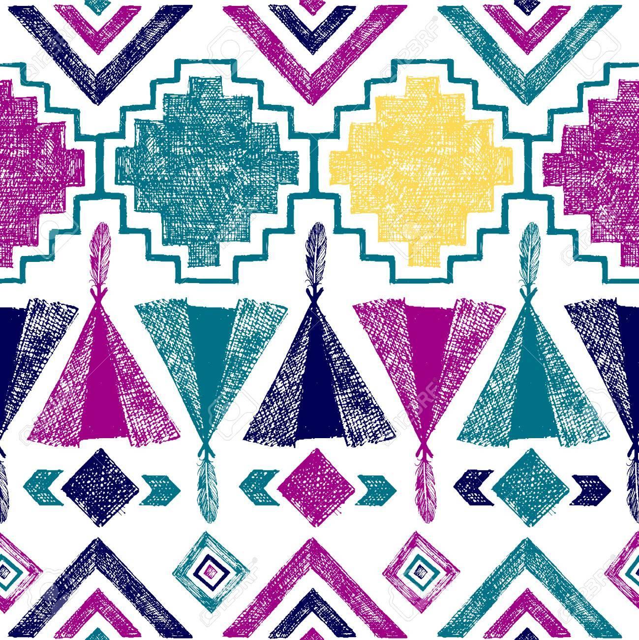 Bright hand drawn tribal seamless pattern - 42020412