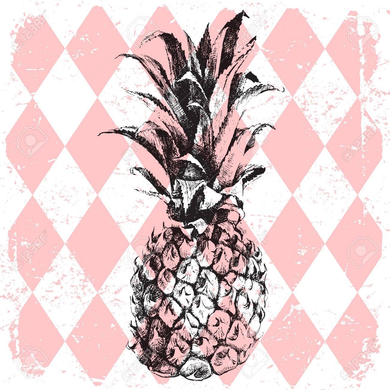 hand drawn pineapple on rhombus background - 42022070