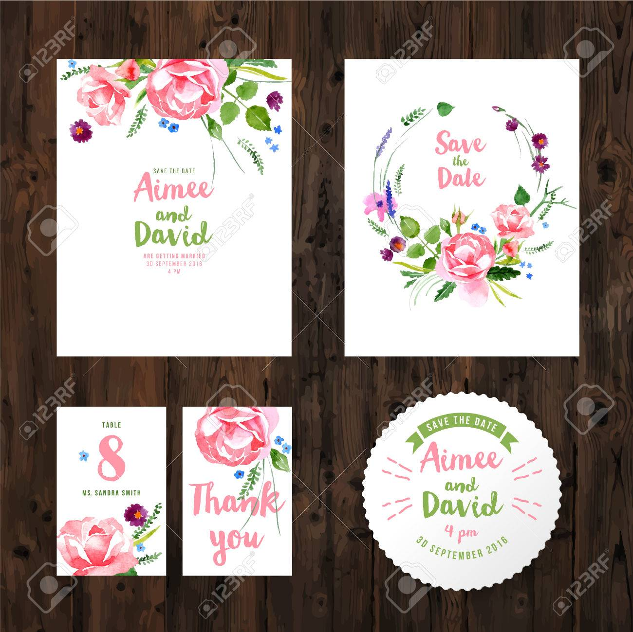 Wedding cards with watercolor flowers on wooden background - 42038420