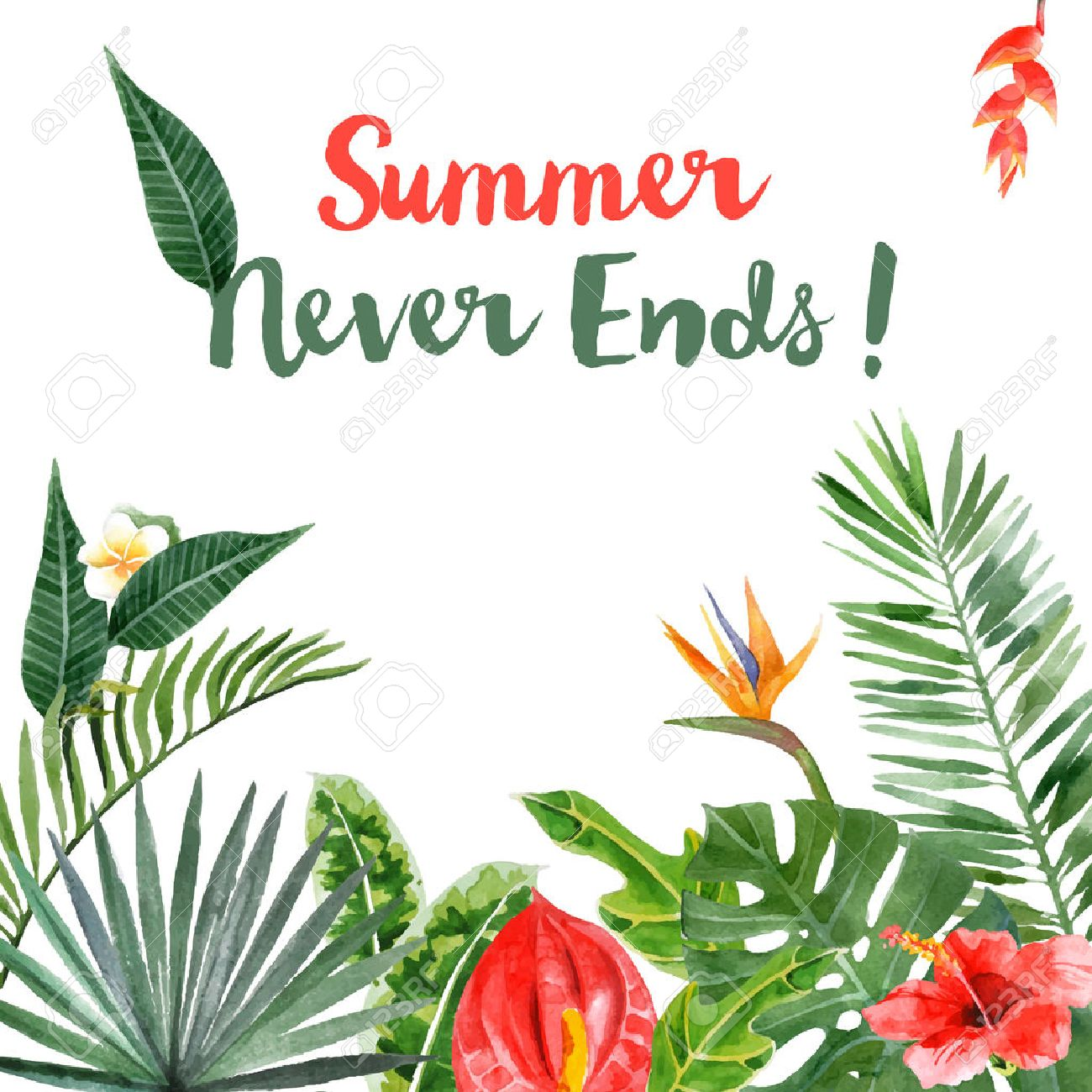 Background with hand drawn watercolor tropical plants - 42419424