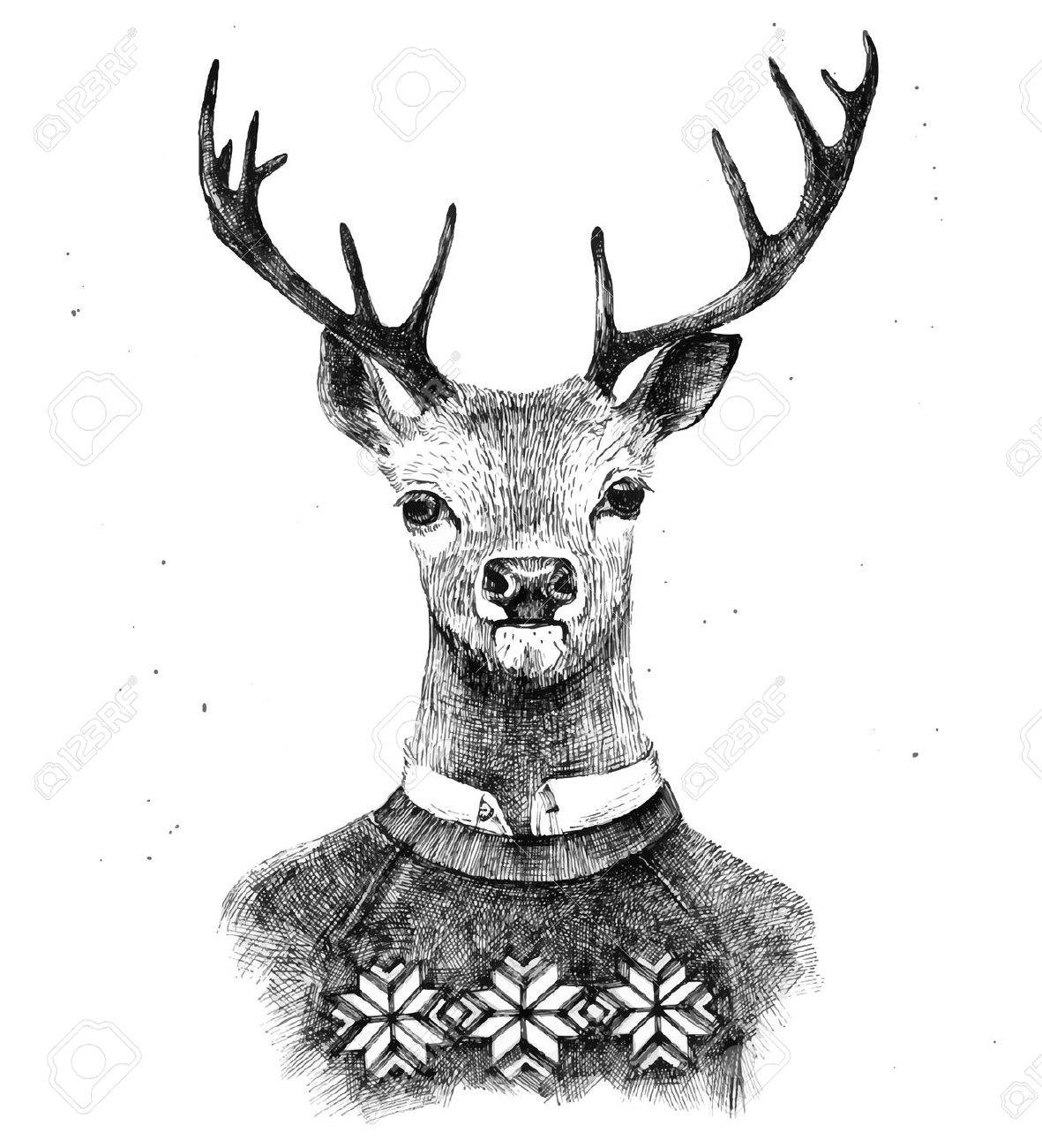 hand drawn deer portrait in kneated sweater - 42419437