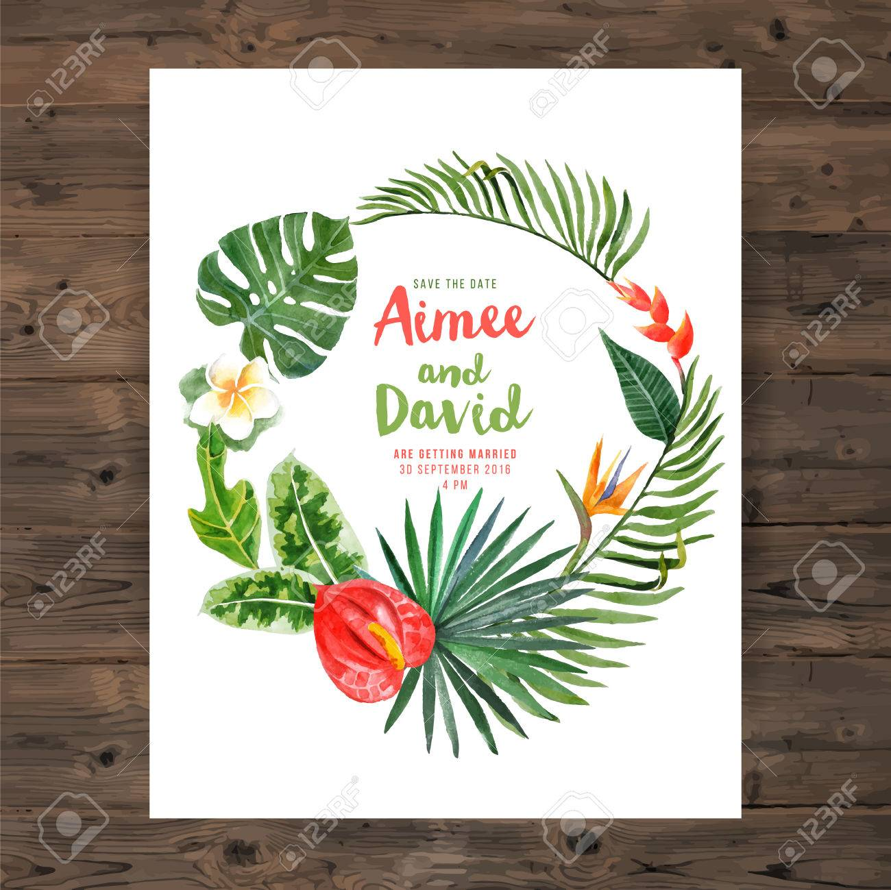 Save the date background with watercolor tropical wreath - 42426642