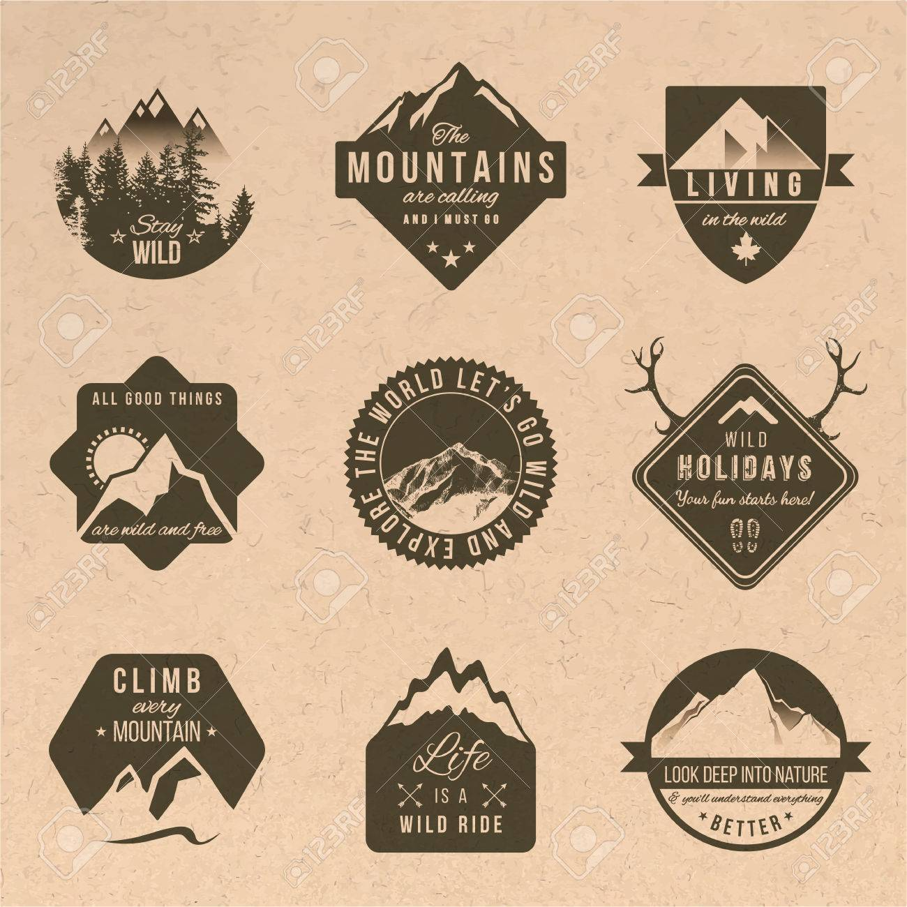 Set of 9 adventure labels with different type designs in vintage style - 43347552