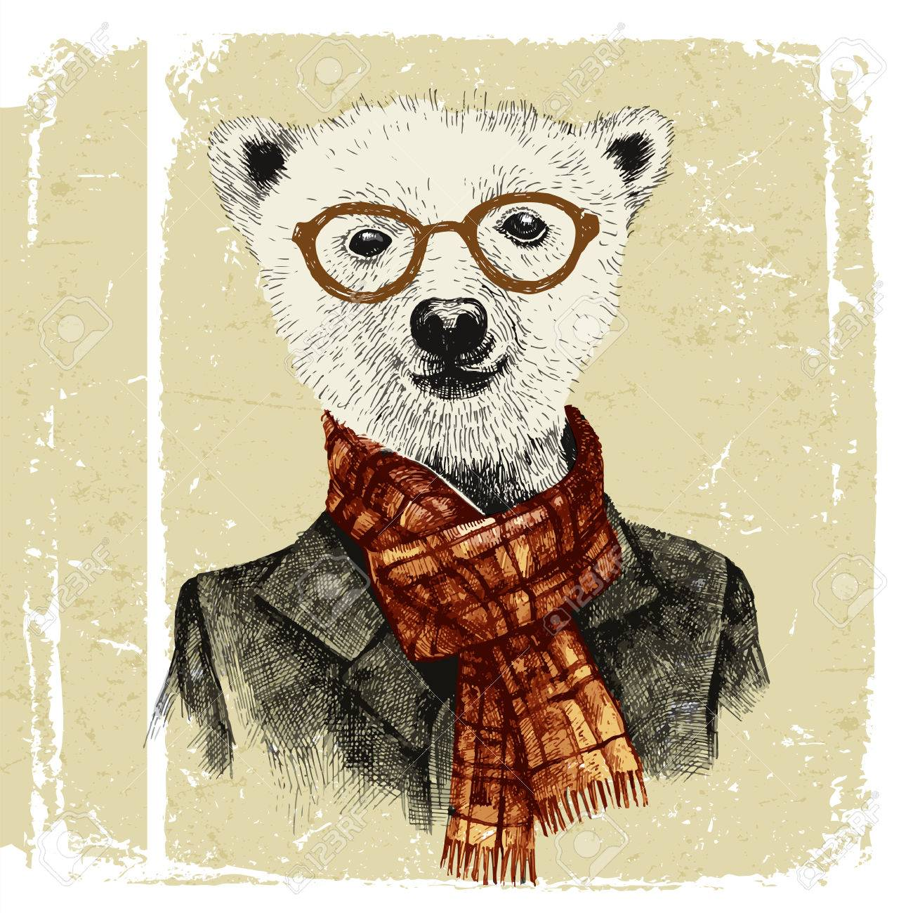 Hand drawn dressed up hipster bear in glasses in vintage style - 43870913