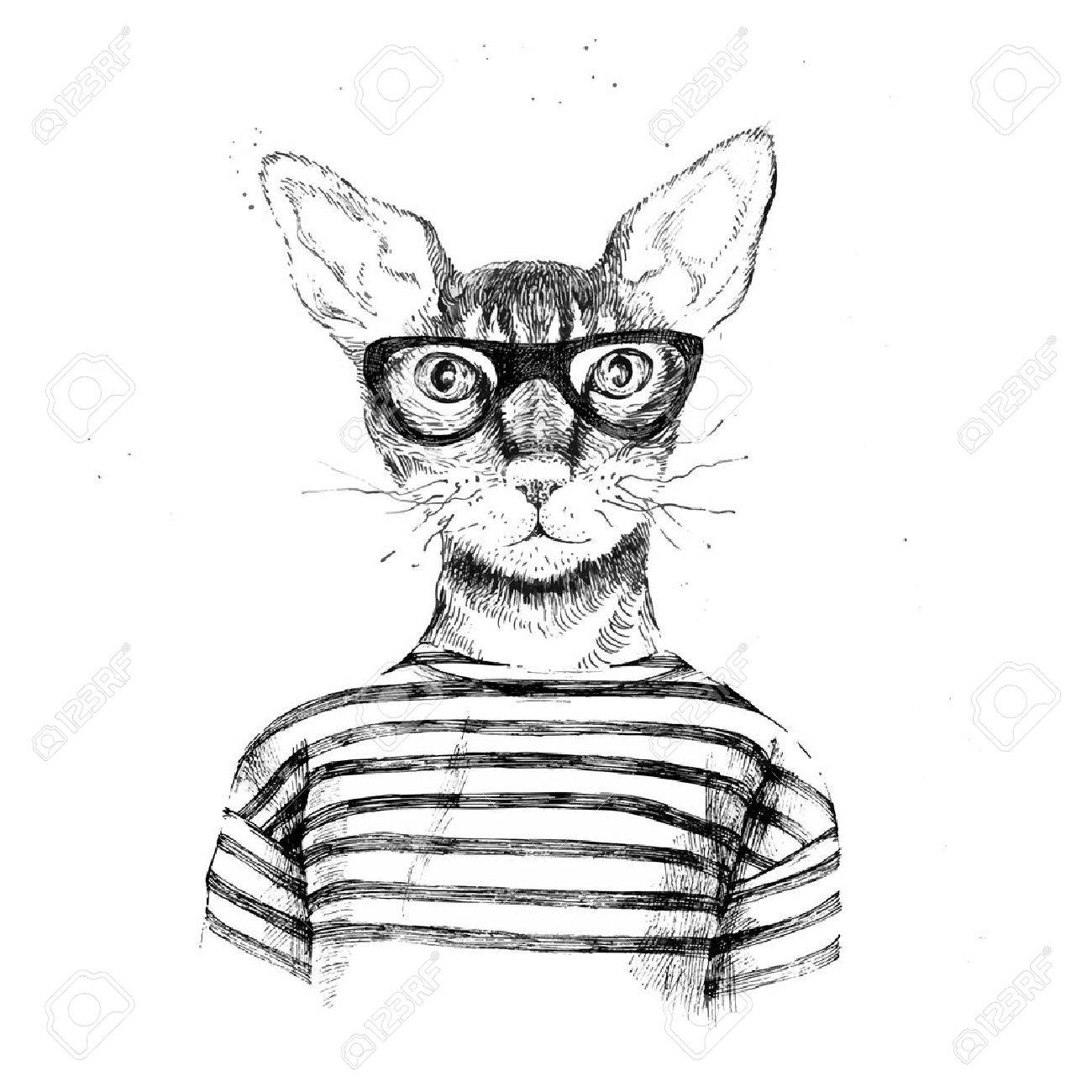 Hand Drawn Dressed Up Hipster Cat On White Background Stock Vector