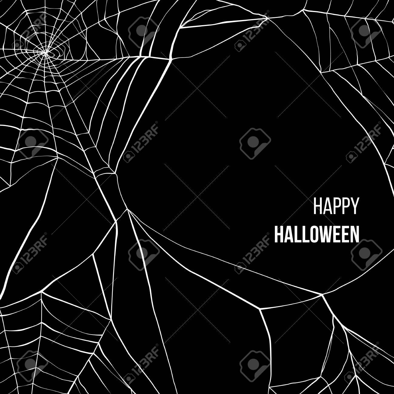 Black background with spider web and place for your text - 43870921