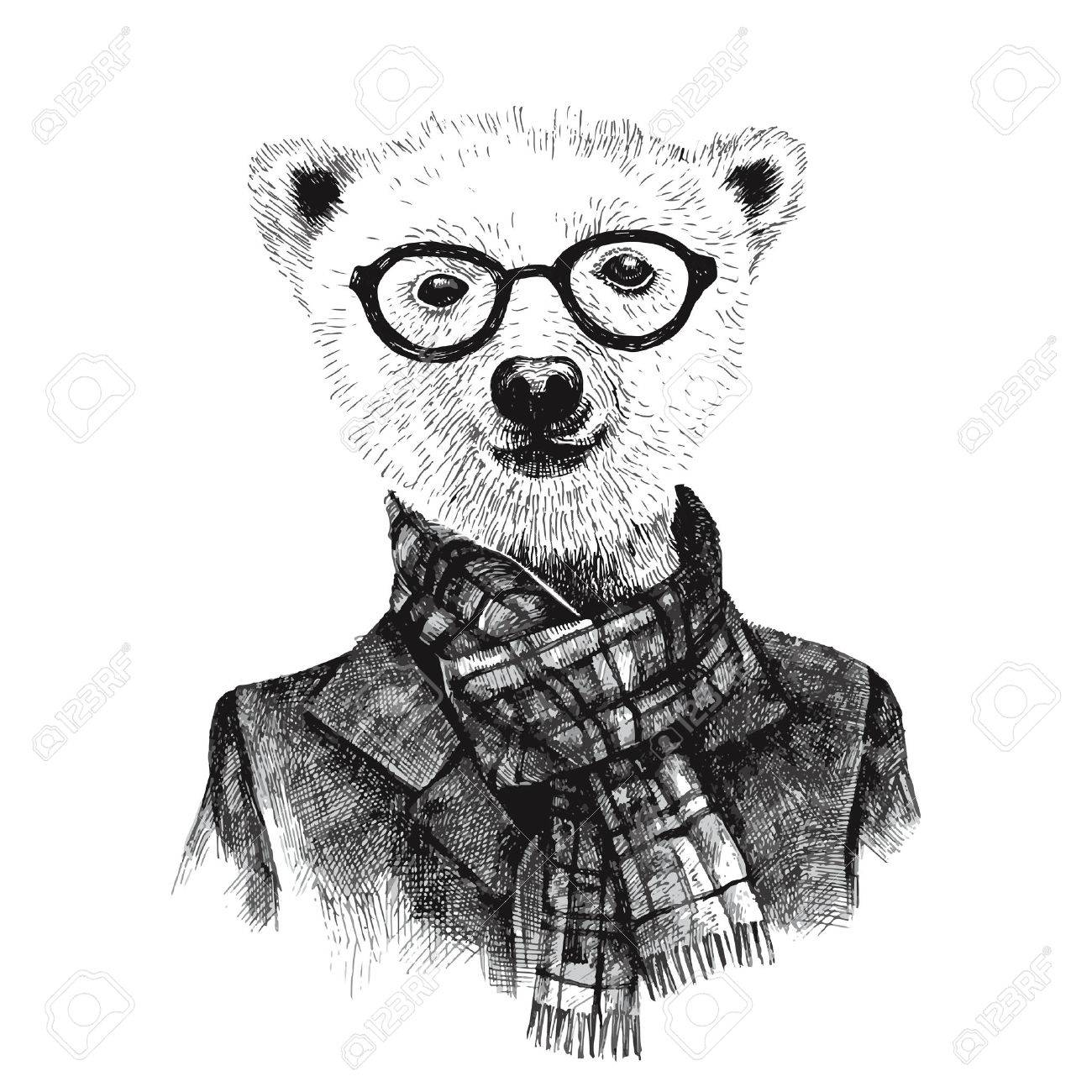 Hand drawn black and white dressed up hipster bear in glasses - 44193098