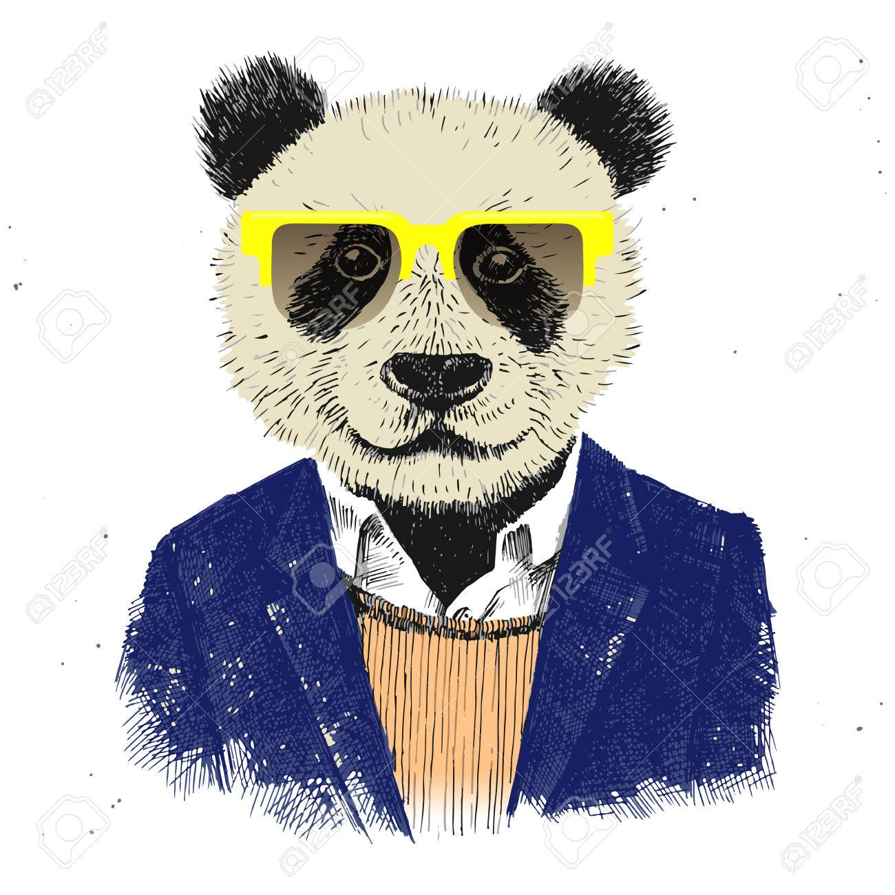 dressed up hipster panda in glasses - 44206031