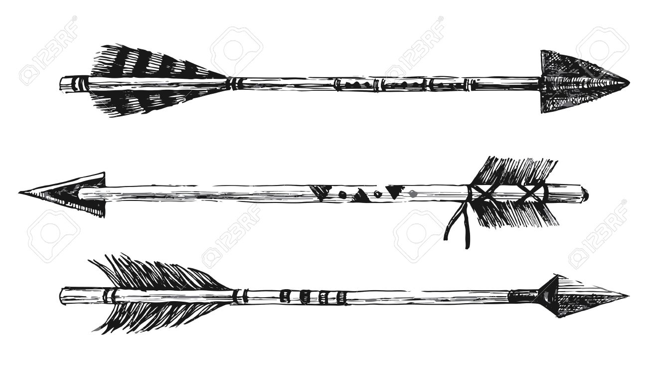 arrows in tribal style on white background - 44206076
