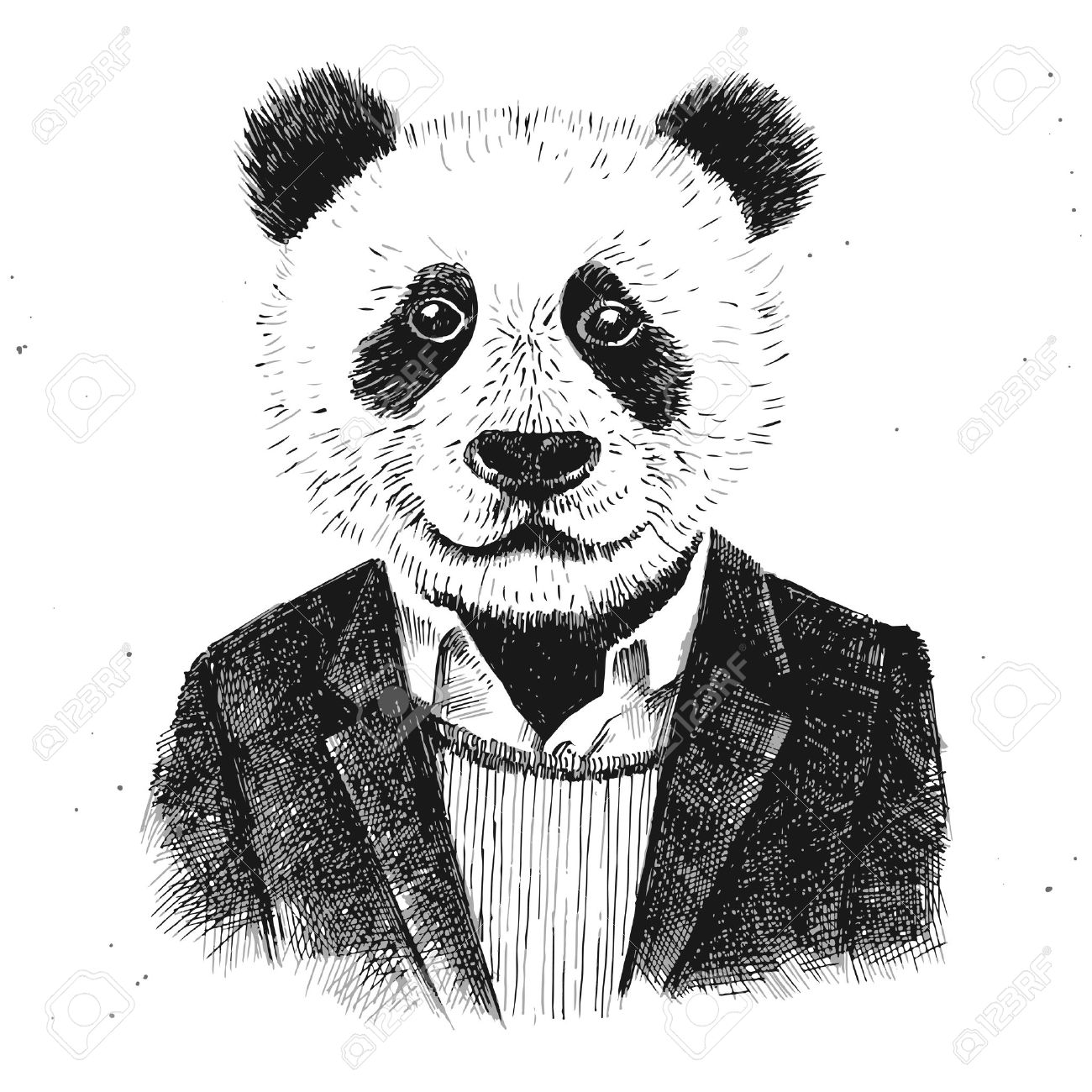 dressed up hipster panda on white background - 44206079